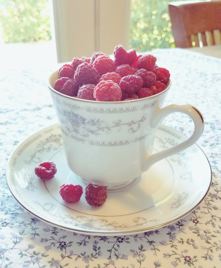 raspberries in teacup