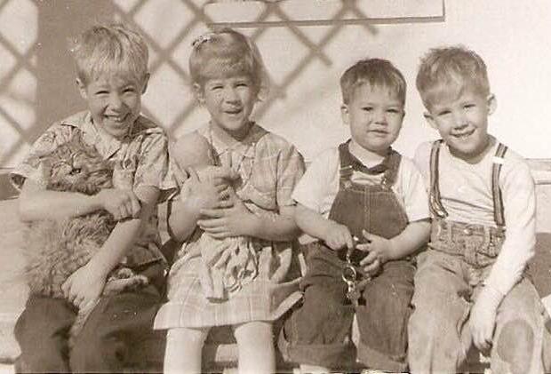 old photo children kitty